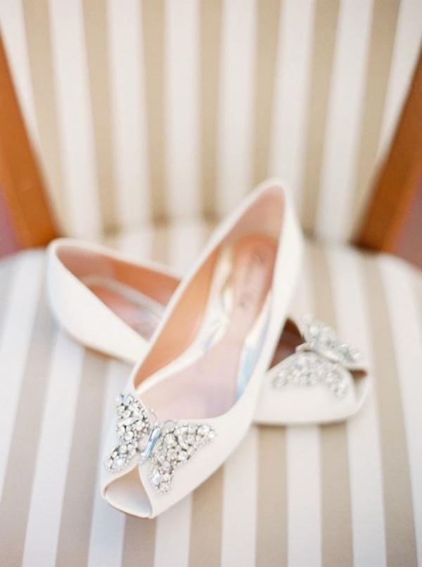 Brautschuhe beige flach
