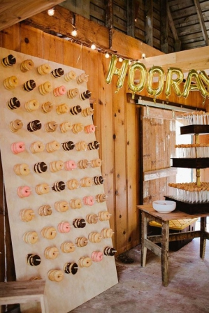 Donut Wedding Cake Display. Photography Melissa Green as seen on Wedding Blog Humming Heartstrings
