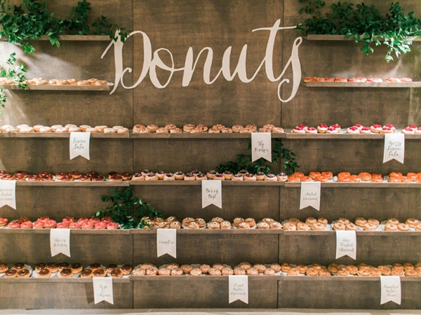 Donut Cake Display photographed by Troy Grover as seen on Wedding Blog Humming Heartstrings