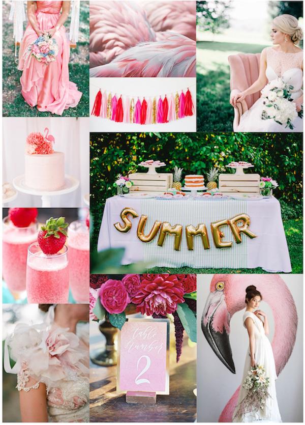 Flamingo Wedding Inspirationboard as seen on Wedding Blog Humming Heartstrings