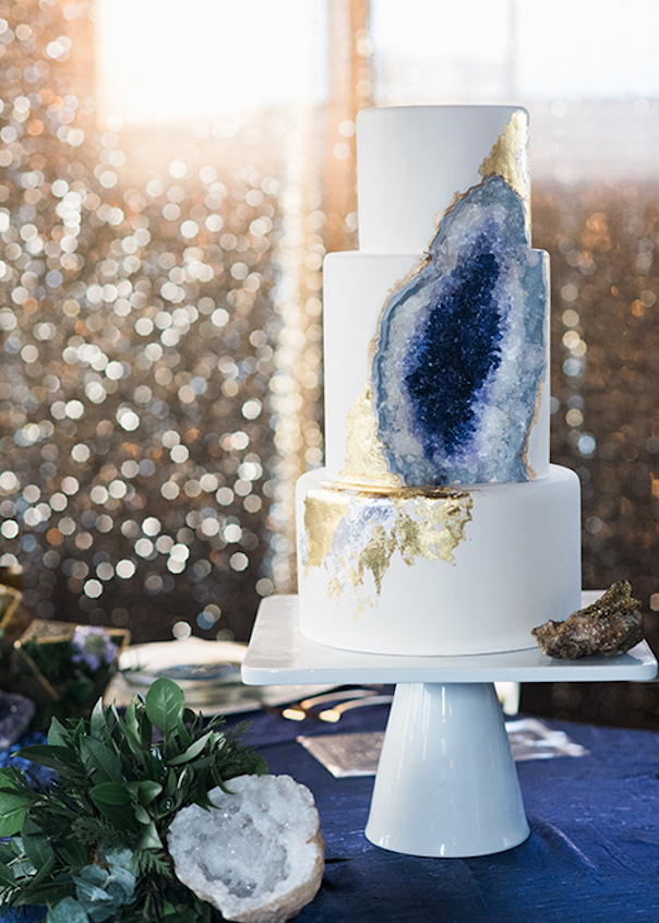 Geode Wedding Cakes as seen on Wedding Blog Humming Heartstrings. Read more: http://www.hummingheartstrings.de/?p=20229. Photo by Ali & Garrett Photographers, Cake by Intricate Icings Cake Design